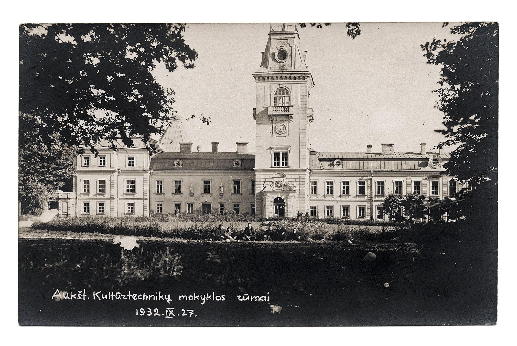 Aukštesnioji kultūrtechnikų mokykla buvusiuose Kėdainių dvaro rūmuose, 1932 rugsėjo 27 d. 1944 m. liepos 30 d. susprogdinta nacių